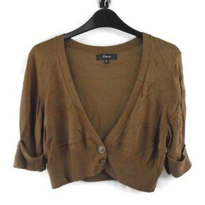 Express Cropped Sweater Jacket M Thin Soft Brown